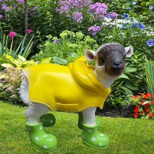 Figur Lamm mit grünen Gummistiefeln + Regenmantel Schaf Tier Garten Deko #3330