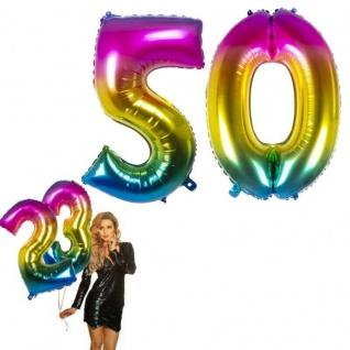 50.Geburtstag XXL FOLIENBALLON Zahl 86cm Regenbogen bunt Helium Luftballon