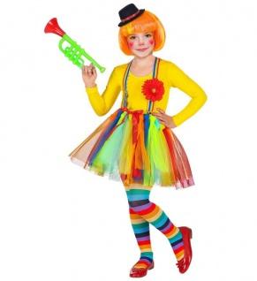 CLOWN KOSTÜM & HUT KINDER Tütü Rock Mädchen Harlekin Karneval Fasching # 96532