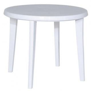 Vollkunststoff - Tisch, Gartentisch, Tisch aus Kunststoff, 90 cm rund weiß