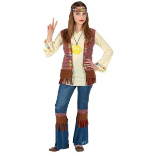 Hippie Love & Piece Kinder Kostüm für Mädchen Schlaghose Jeans 70er Flower Power