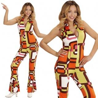 70er Disco Girl Overall mit Schlag 34/36 -S- Damen Kostüm Hippie Jumpsuit #8931