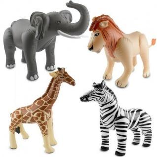 Aufblasbarer Löwe, Elefant, Giraffe und Zebra Safari Dschungel Motto Party Deko