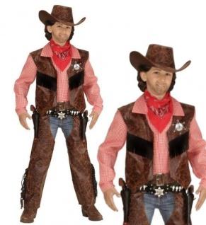 Cowboy Kinder Jungen Western Kostüm Gr. 140 Weste mit Hemd + Chaps + Hut #592