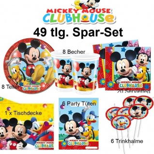 49tlg. Spar-Set Micky Maus Kinder Geburtstag Party Teller Becher - Mickey Mouse