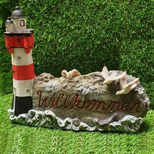 Figur Leuchtturm Möwen auf Felsen Willkommen Schild Haus Garten Deko #389