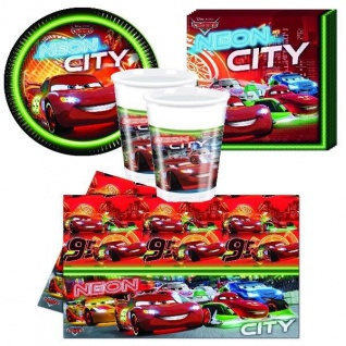 CARS NEON CITY Party Set Becher Servietten Teller Tischdecke Kinder Geburtstag