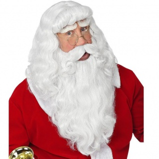 Deluxe WEIHNACHTSMANN BART & PERÜCKE Santa Claus Nikolaus Kostüm Set # 6943 NEU