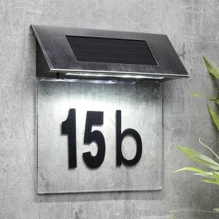 LED Solar Hausnummern Leuchte Edelstahl Hausnummer Lampe beleuchtet Beleuchtung