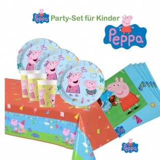 PEPPA WUTZ PIG Party Set - Teller Becher Servietten Tischdecke Kinder Geburtstag