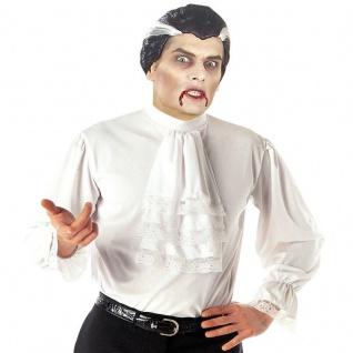 Dracula Vampir Rüschen Hemd mit Jabot weiß historisch Herren Kostüm M/L-XL 48-56