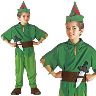 Waldelf Peter Kinder Jungen Kostüm Gr. 128 Robin Hood, Peter Pan, Jäger #8066