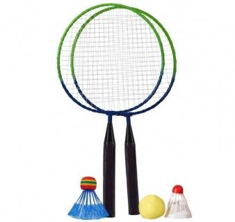 5 tlg. Kinder Federball Spiel Set Fun 46cm Badminton Schläger verschiedene Bälle