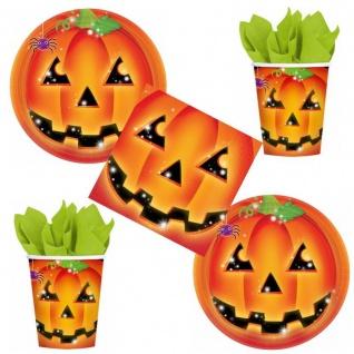 48 tlg. Kürbis Pumpkin HALLOWEEN Party Set 16x Becher 16x Teller 16x Servietten