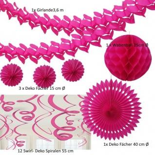 Party Deko - Pink - 24 tlg. - XXL Dekoration Set Hochzeit Girlande Geburtstag