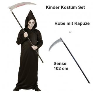 SENSENMANN Kostüm Kinder mit Sense Grim Reaper Tod Halloween Jungen Karneval