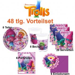 48 tlg. Vorteil-Set TROLLS Dreamworks Party Kinder Geburtstag Deko Teller Becher