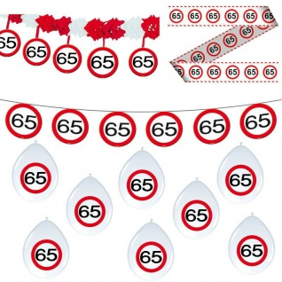 65. Geburtstag 11 tlg Deko Set Party 65 Verkehrsschild Girlande Luftballon Set 6