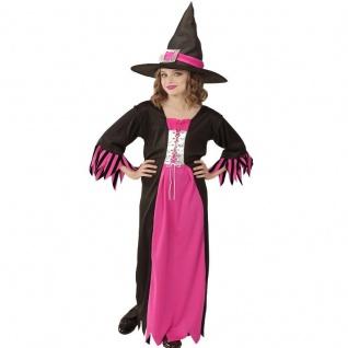 HEXE - Kleid mit Hexen Hut - pink/schwarz Kinder Kostüm Halloween Magier Mädchen