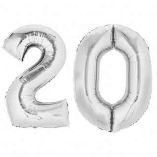 XXL Folienballon Zahlenballon Hochzeit Jubiläum Geburtstag SILBER 80cm Zahl 20
