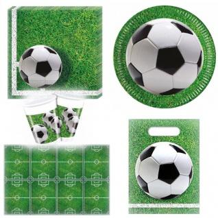 Fußball Party Set 43-teilig Geschirr Teller Tischdecke Servietten Trinkbecher - Vorschau