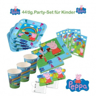 Peppa Wutz44tlg. KINDER-GEBRURTSTAG Teller, Becher, Servietten Motto Party