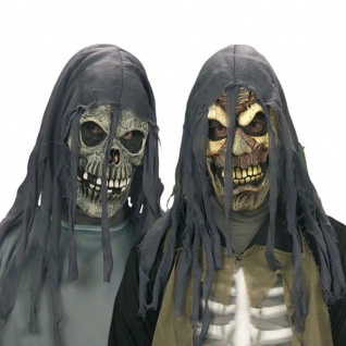 Latex Maske für Erwachsene Horror ZOMBIE oder TOTENKOPF Kapuze Halloween Karnev