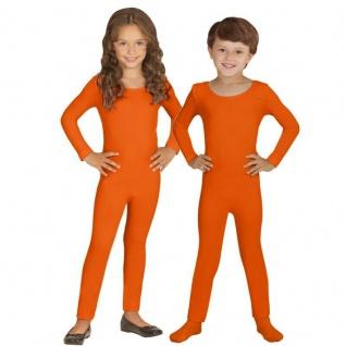 Einteiler Kinder Body Overall Jumpsuit lang Sport orange Langarm Kostüm 116-152
