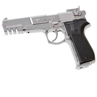 TERMINATOR Agent Kinder Spielzeug Pistole 25-Schuss chrom Knall-Pistole