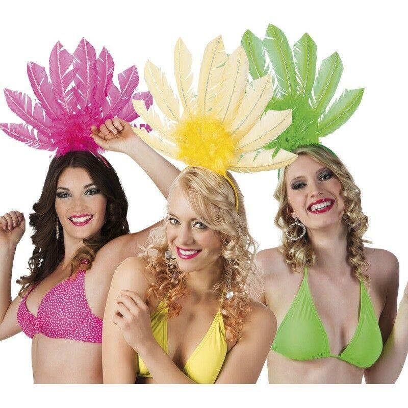 Samba Rio Kopfschmuck Federschmuck Brasilien Karneval TIARA SAMBA rot  #2102