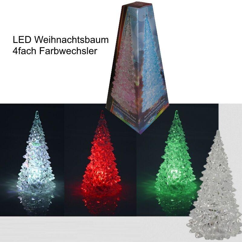 LED Weihnachtsbaum 22,5cm 4 fach Farbwechsler Christbaum Acryl Weihnachten