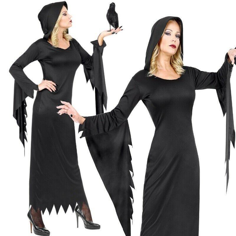 Mittelalter KLEID MIT KAPUZE Mädchen Halloween Kinder Kostüm Gothic Vampir Hexe