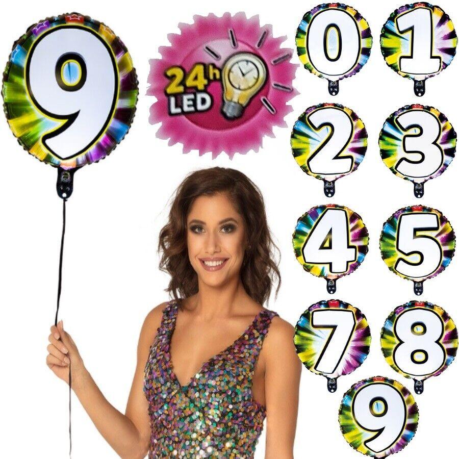 15+ LED Folien Luftballon mit Zahl leuchtend Geburtstag Jubiläum Party Deko  Ballon Fotos