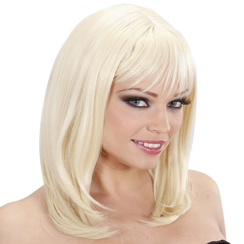 Damen Perucke Wie Echthaar Blond Glatt Schulterlang Gestuftes Haar Neu 9180