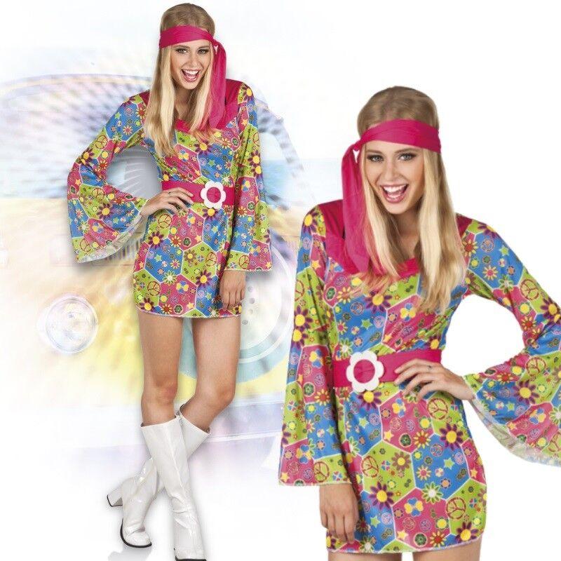 Groovy Girl 38 40 M Hippie Damen Kostum 60er 70er Jahre Kleid Flower