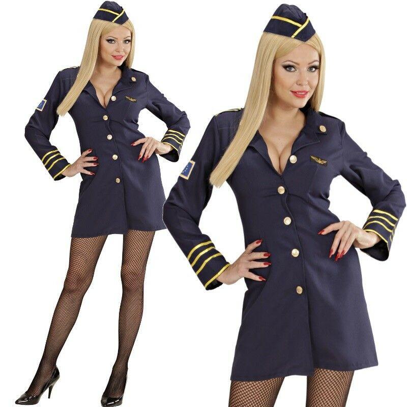2tlg Damen Kostüm STEWARDESS Kleid blau Flugbegleitung ...