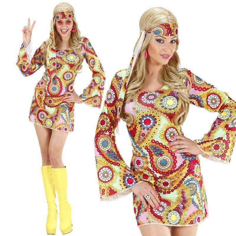 GROOVY GIRL 34//36 S HIPPIE DAMEN KOSTÜM 60er 70er Jahre Kleid Flower Power #8871