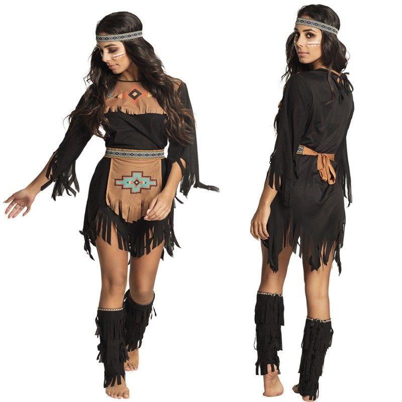 Indianerin Squaw Edle Wolfin Damen Kostum Apache Wilder Westen