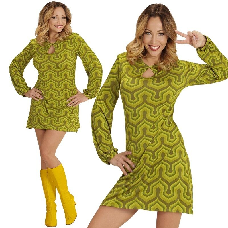 Groovy Lady Girl 34 36 S Hippie Retro Kleid Damen Kostum 70er Jahre