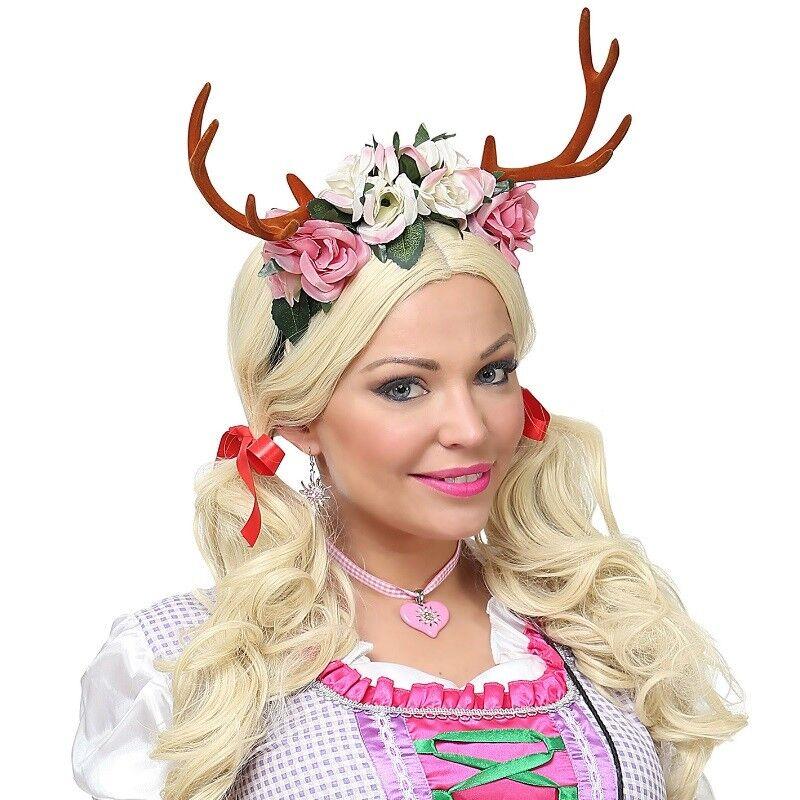 rentier geweih reh mit blumen haarreif damen kostum weihnachten 7792