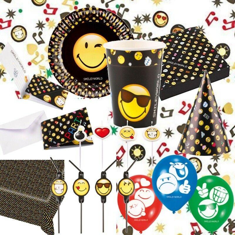 8 Emoji Einladungskarten mit Umschlägen Emoticons Smiley Deko Kindergeburtstag