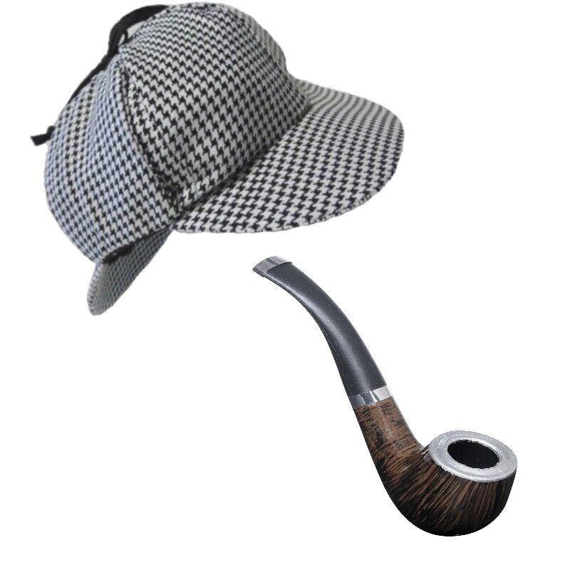 außergewöhnliche Auswahl an Stilen bestbewertetes Original limitierte Anzahl Sherlock Holmes Hut Deerstalker Mit Pfeife Detektiv Kostüm Zubehör #8626p