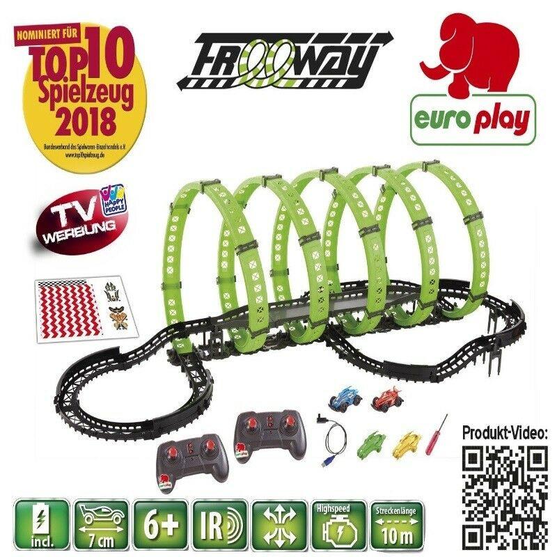 Europlay RC Rennbahn Freeway mit 5 Loopings NEU Elektrisches Spielzeug