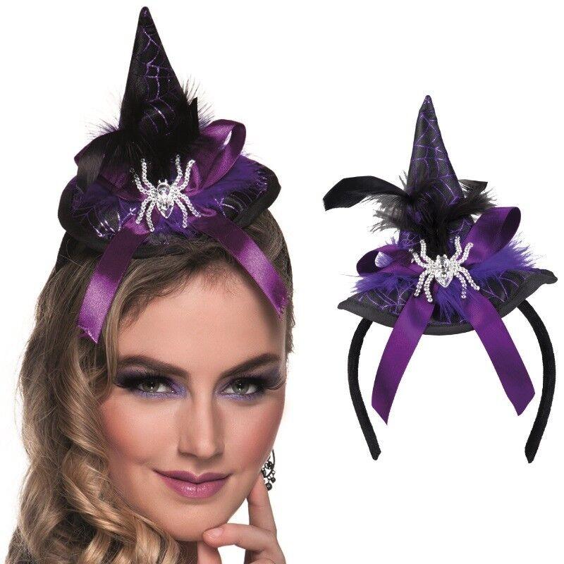 das beste beste Angebote für Outlet-Store MINI HEXENHUT auf Haarreif mit Spinne violett Spindra Halloween Hexe Hut  #810