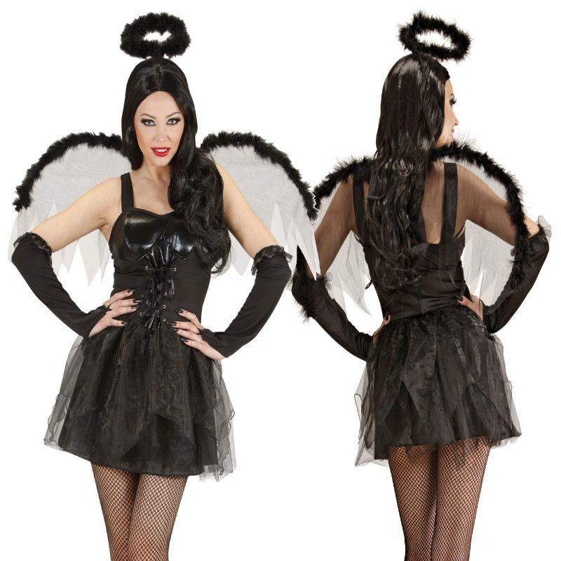 schwarzer engel damen kost m halloween karneval gr m 38. Black Bedroom Furniture Sets. Home Design Ideas