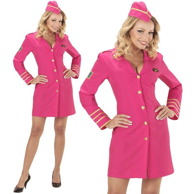 2tlg Damen Kostüm STEWARDESS Kleid Pink Flugbegleitung ...