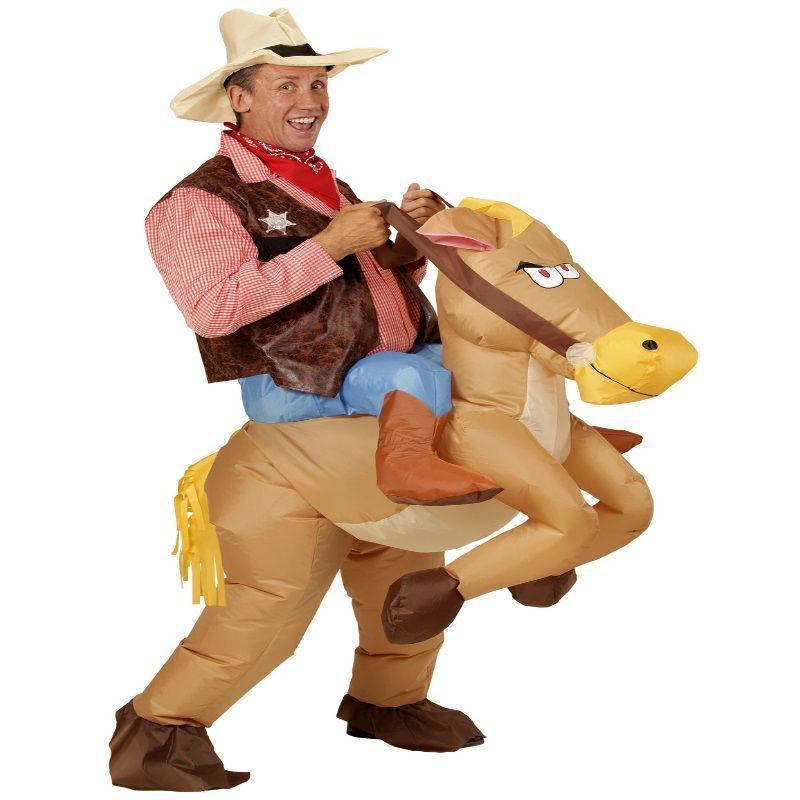 Aufblasbares Pferd Reiten Cowboy Erwachsenen Kostüm Party ...