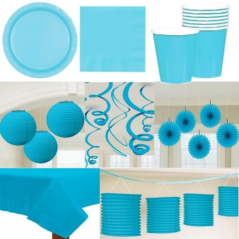 Party Deko Alles In Der Farbe Hellblau Teller Laterne Fächer