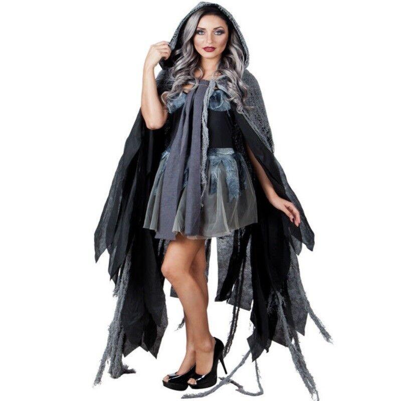 Hexen Umhang Fetzenkutte Grau 150 Cm Halloween Kostum Kutte Fetzen
