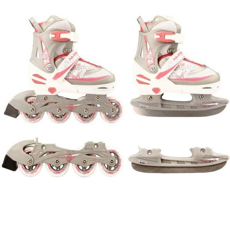 Inlineskating blau Kinder Inliner und Schlittschuhe 2 in 1 Größe verstellbar 27-30 Skater